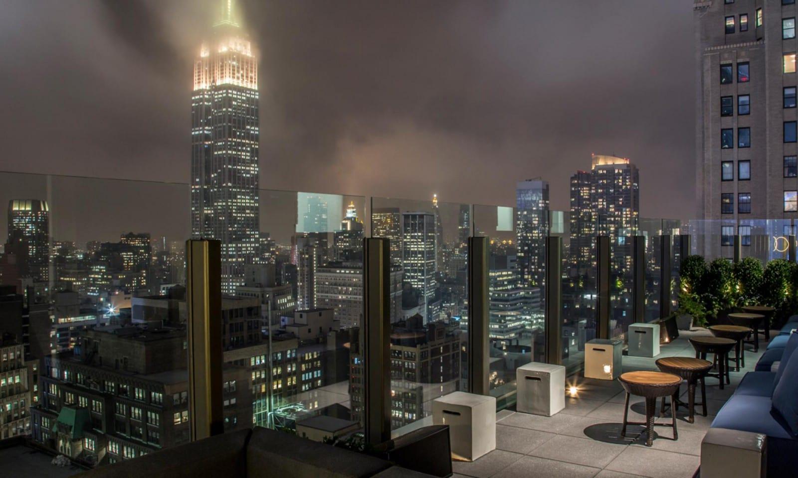 skylark rooftop bar at night
