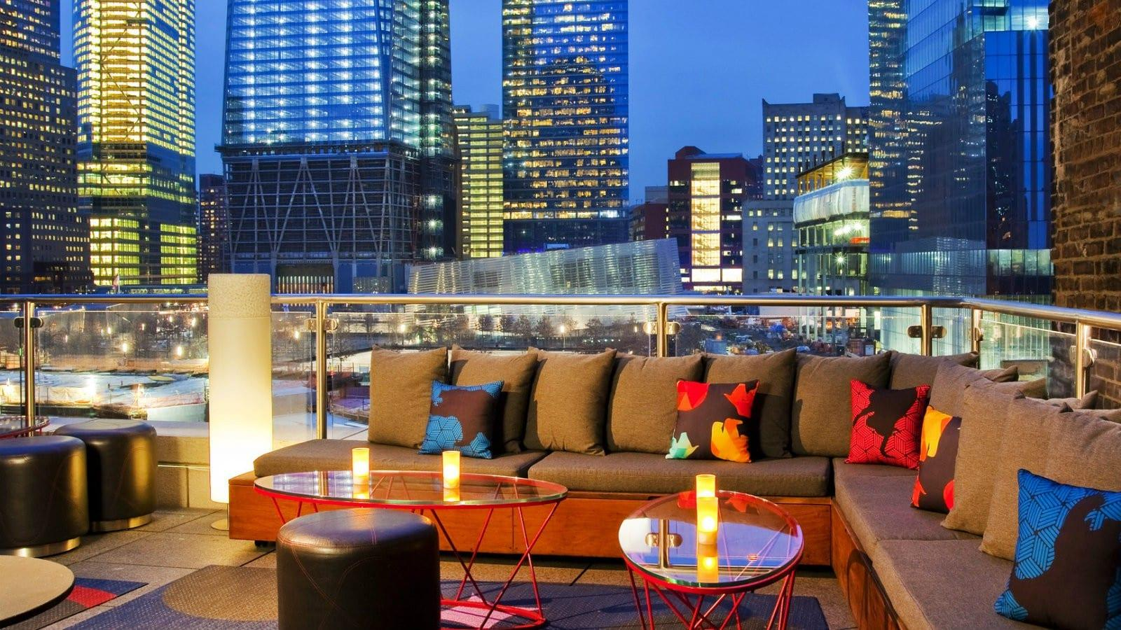 Seating at W Downtown rooftop bar