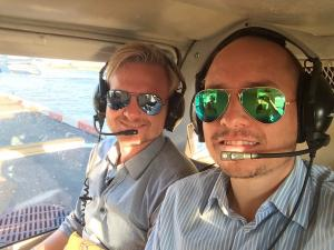 steffen and tino in a helicopter