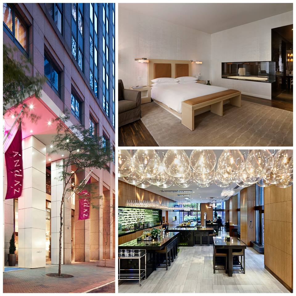 collage of several pictures of the andaz wall street hotel new york