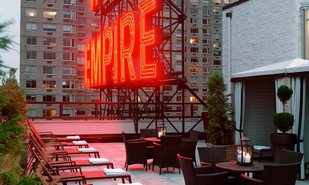 red neon-letters at empire hotels new york