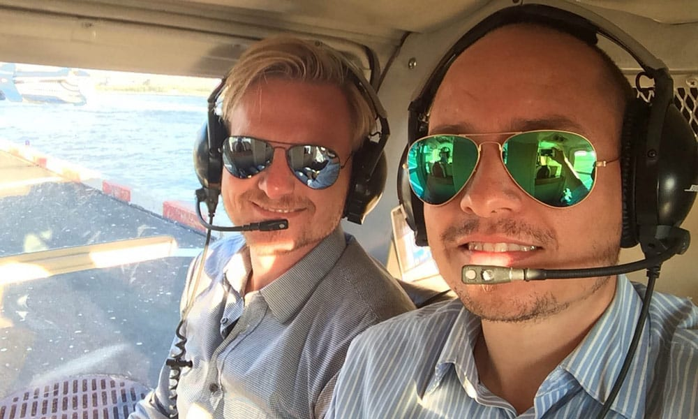 tino and steffen on a helicopter ride