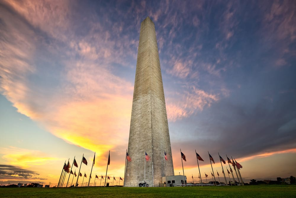 washington memorial at sunset