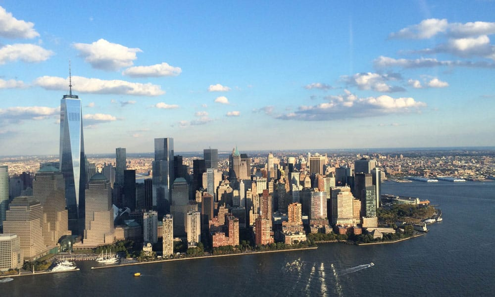 lower manhattan from helicopter view