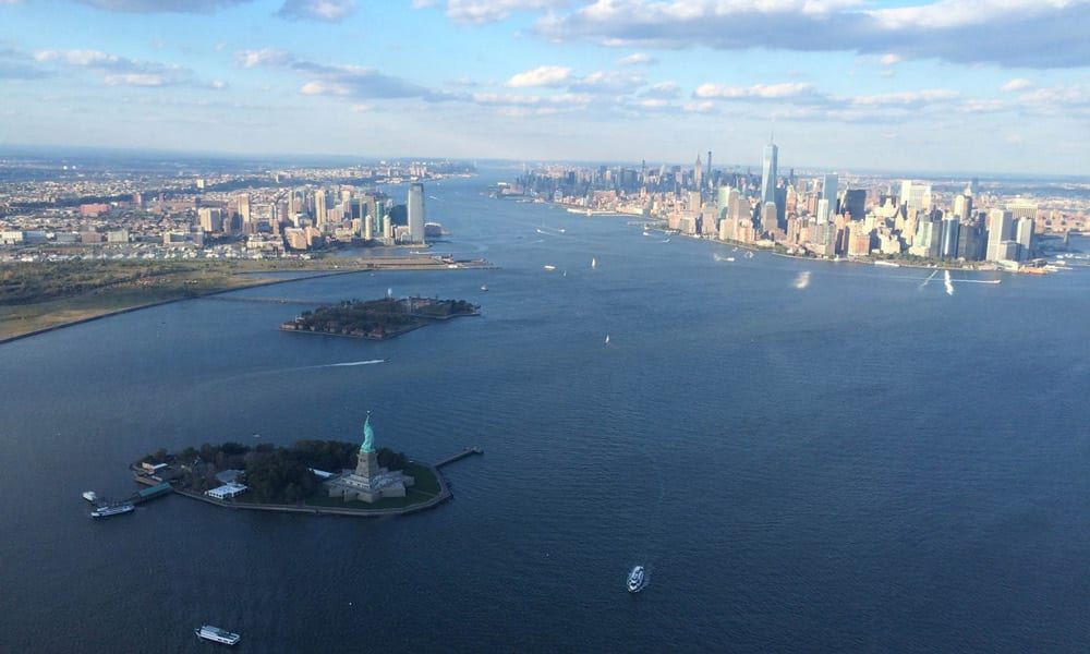 statue of liberty from helicopter view