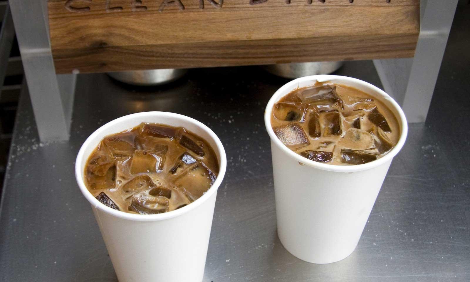 2 iced coffee drinks
