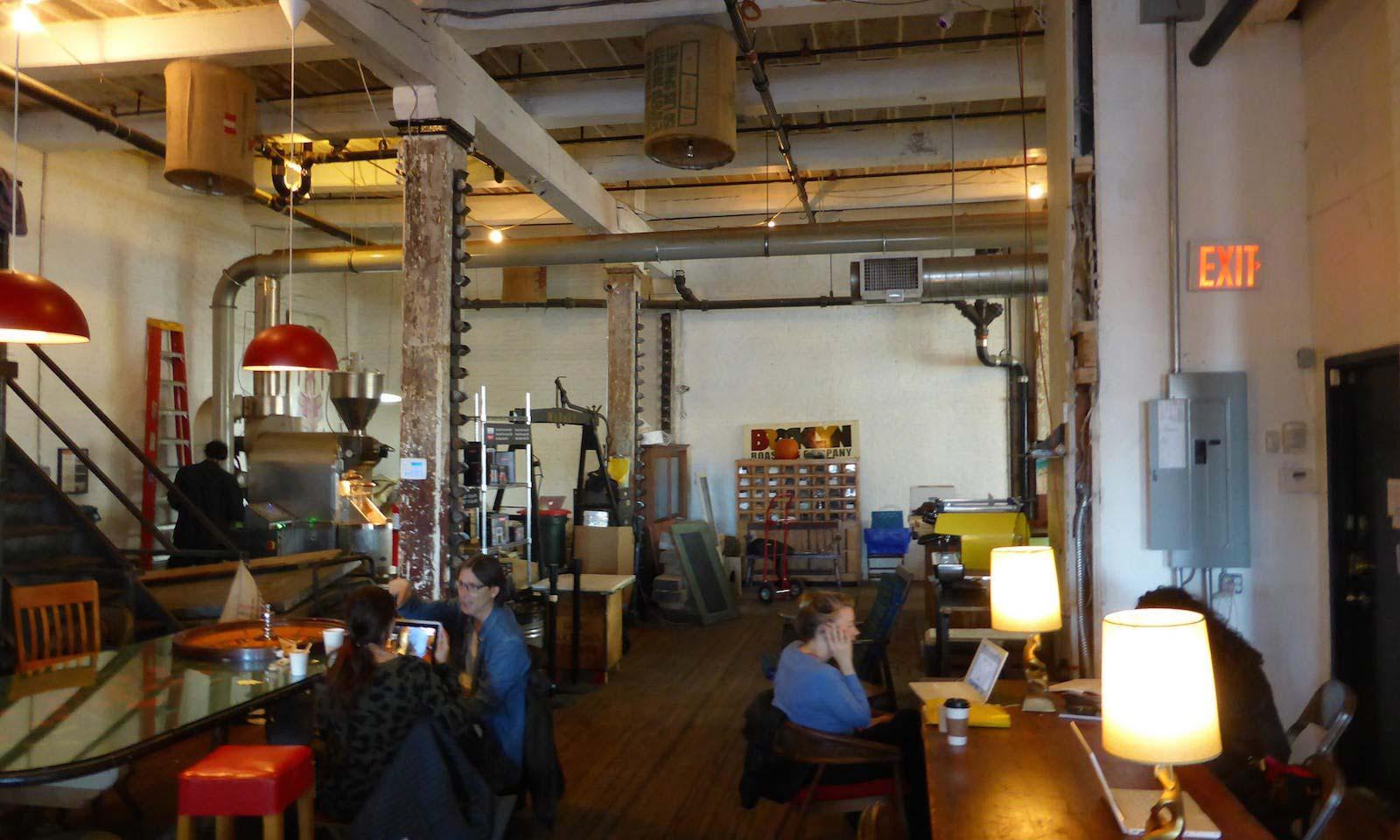 visitors inside brooklyn roasting company