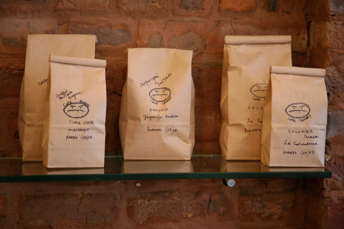 packed coffee bags from cafe grumpy