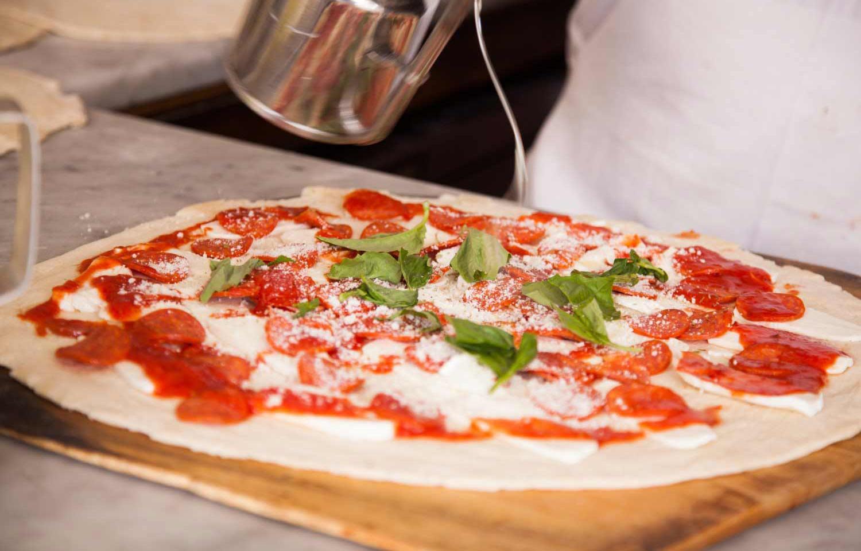 pizza at grimaldi's pizza in nyc