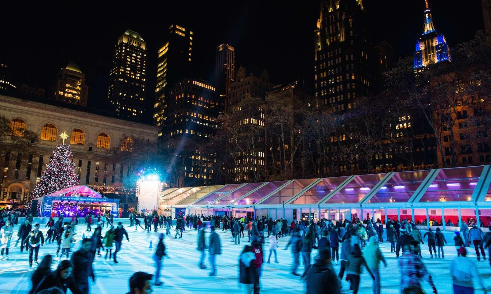 ice rink at winter village at bryant park