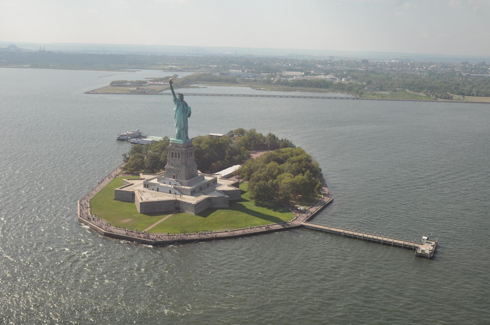 statue of liberty from a helicopter tour