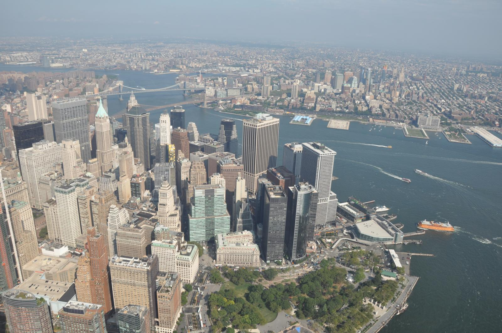view of manhattan from helicopter flight