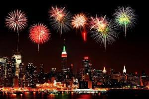 Vista de Nochevieja en barco desde Nueva York