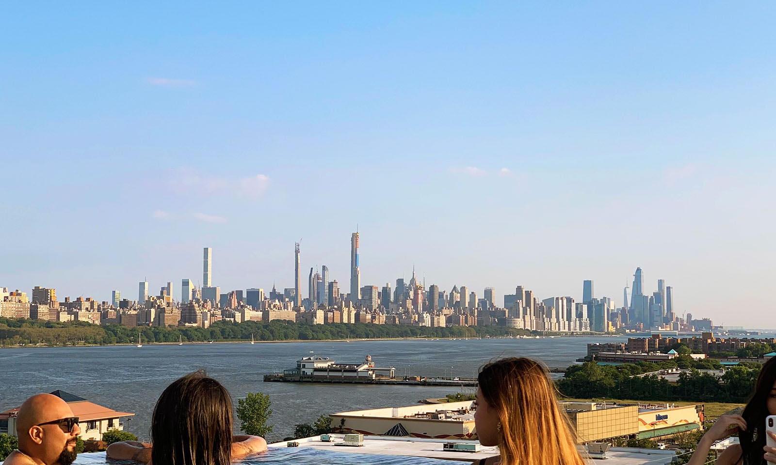 Infinity pool overlooking NYC