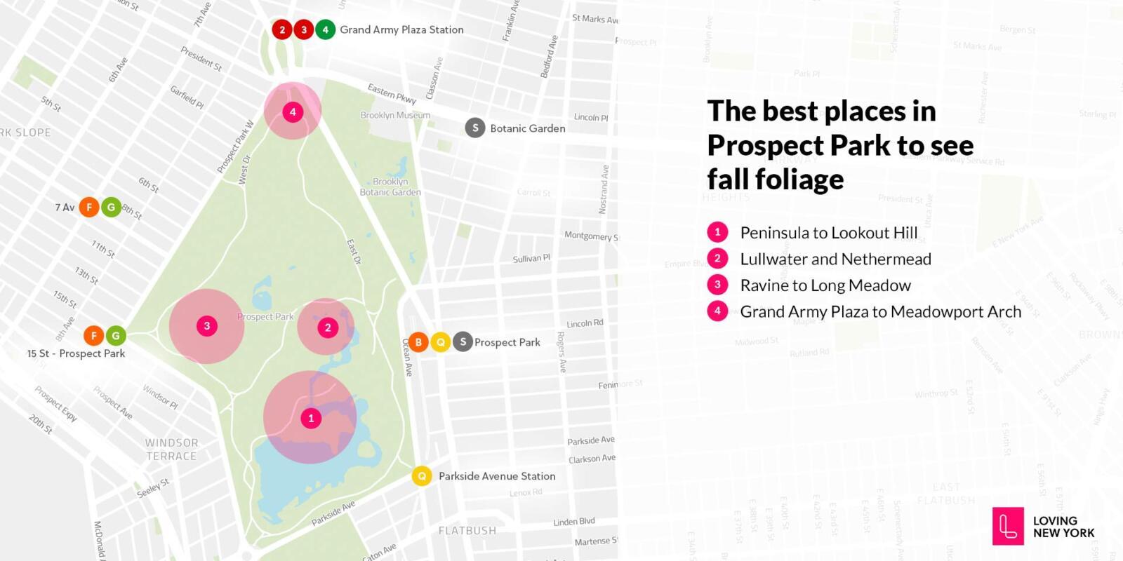 Estos son los mejores lugares para ver el follaje de otoño en Prospect Park