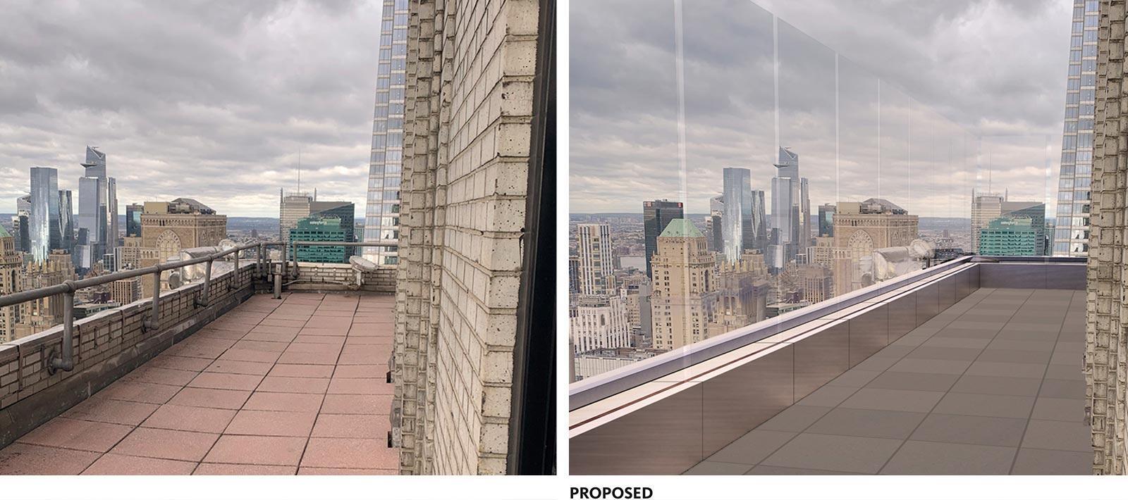 Plataforma de observación del edificio Chrysler antes después